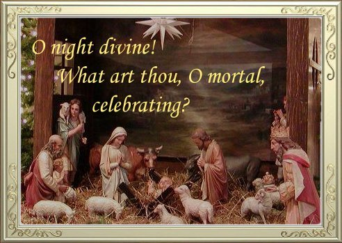 nativity set decorated